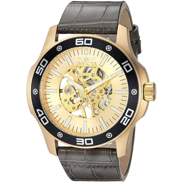 Invicta Men s Specialty Mechanical Hand Wind Gold Tone and Leather Casual Watch, Color Grey Model 17262
