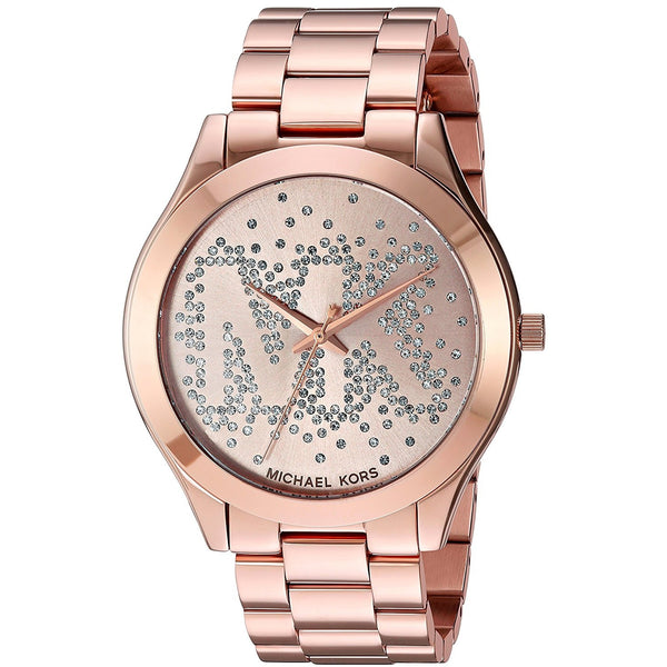 Michael Kors Women s Slim Runway Logo Rose Gold Tone Watch MK3591