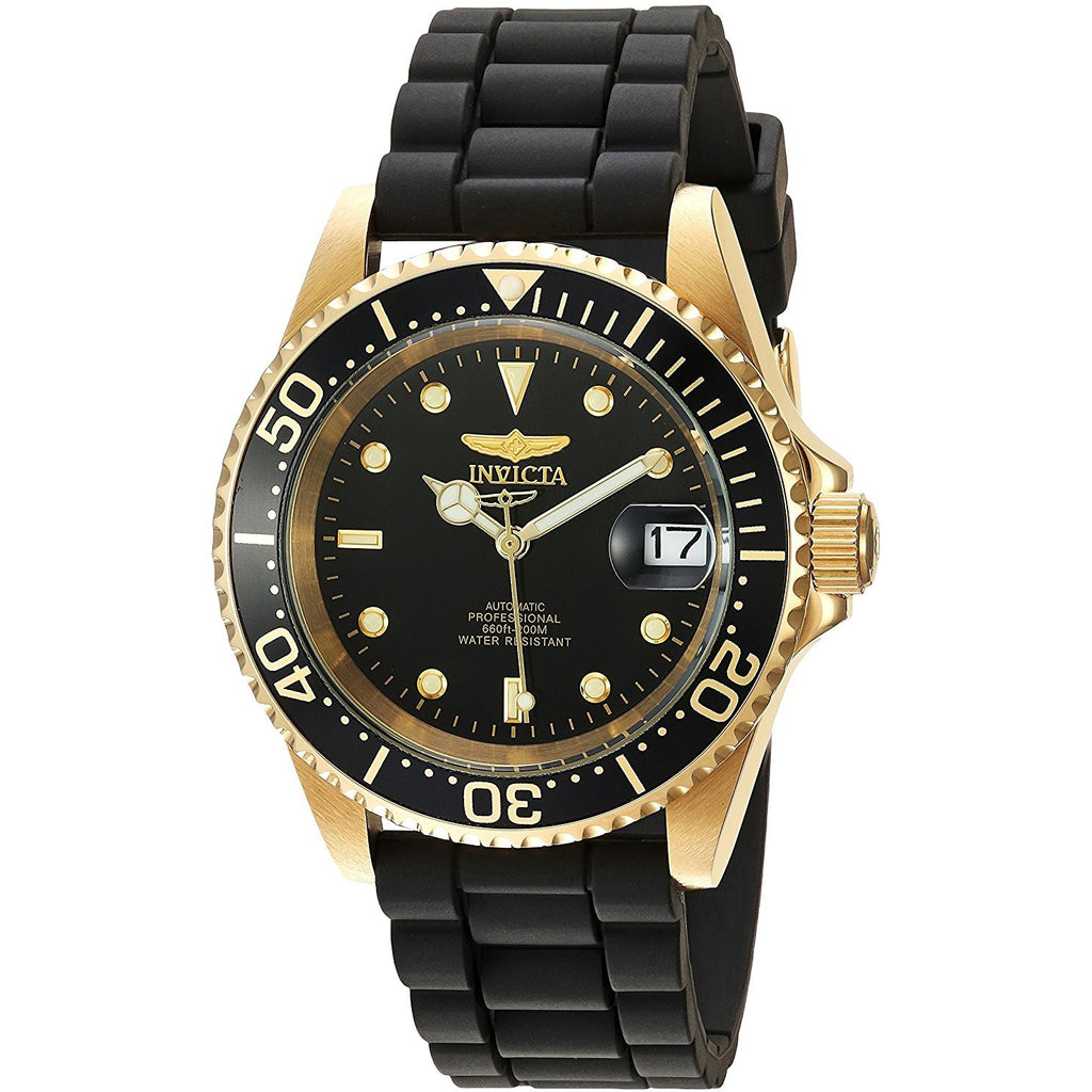 5f5ba9d86 Invicta Men s Pro Diver Automatic Gold Tone and Stainless Steel Casual Watch,  Color Black