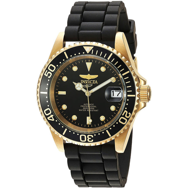 Invicta Men s Pro Diver Automatic Gold Tone and Stainless Steel Casual Watch, Color Black Model 23681