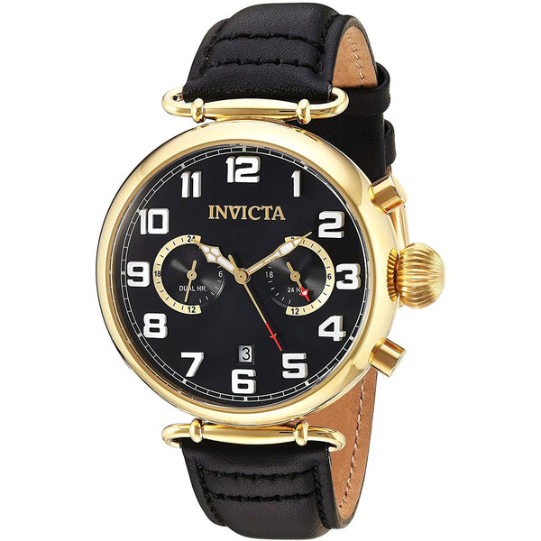 Invicta Men s Aviator Quartz Stainless Steel and Leather Casual Watch, Color Black Model 22981