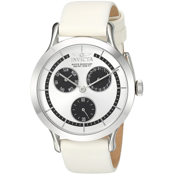 Invicta Women s Angel Quartz Stainless Steel and Leather Casual Watch, Color White Model 22493