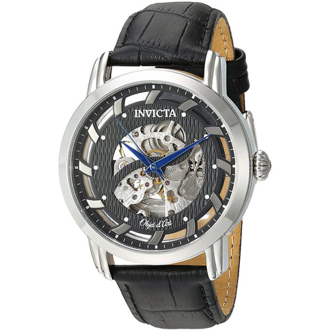 Invicta Men s Objet D Art Automatic Stainless Steel and Leather Casual Watch, Color Blue Model 22633