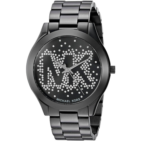 Micheal Kors Women s Slim Runway Logo Black Watch MK3589