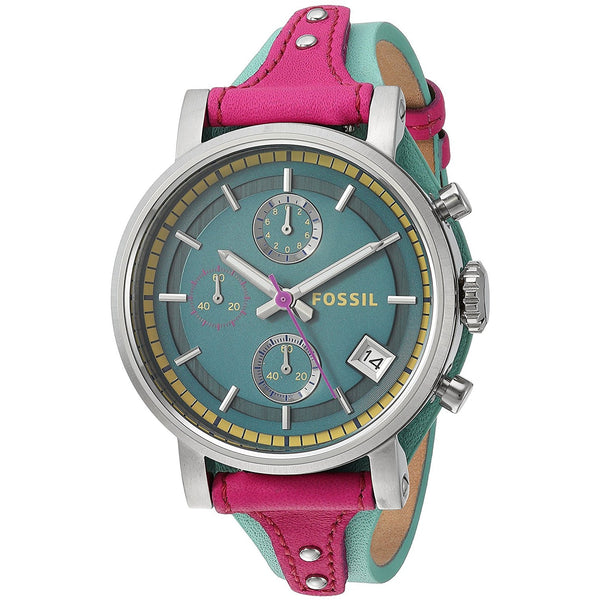 Fossil Women s ES4228 Original Boyfriend Sport Chronograph Two Tone Leather Watch