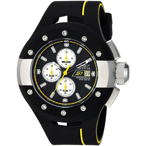 Invicta Men s S1 Rally Quartz Stainless Steel and Silicone Casual Watch, Color Black Model 22435