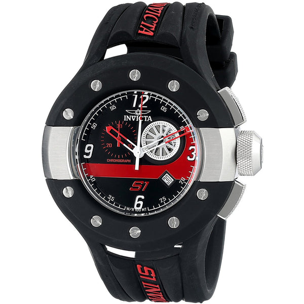 Invicta Men s 11122 S1 Rally Chronograph Black and Red Dial Polyurethane Watch