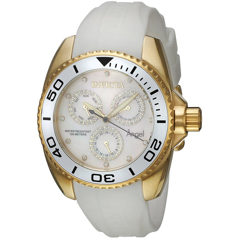 Invicta Women s Angel Quartz Stainless Steel and Silicone Casual Watch, Color White Model 21702