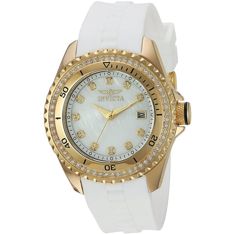 Invicta Women s Wildflower Quartz Stainless Steel and Silicone Casual Watch, Color White Model 21414