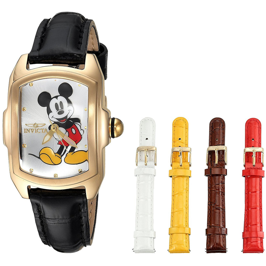 a068bf07684 Invicta Women s Disney Limited Edition Quartz Stainless Steel and Leather  Casual Watch, Color Black