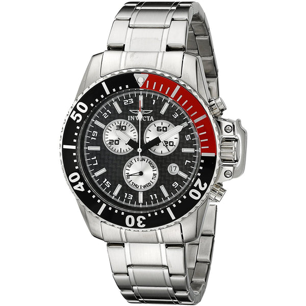 Invicta Men s 11283 Pro Diver Chronograph Black Carbon Fiber Dial Stainless Steel Watch
