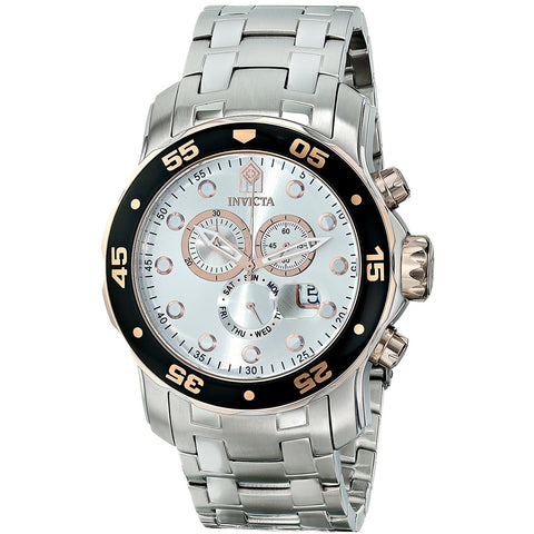 Invicta Men s 80037 Pro Diver Chronograph Silver Dial Stainless Steel Watch