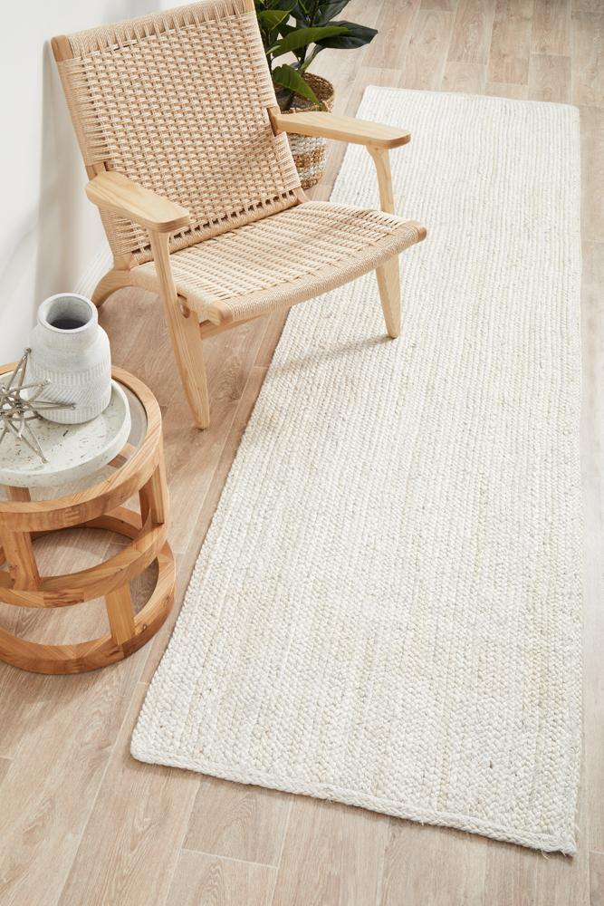 Bondi White Runner hand braided Jute Rug