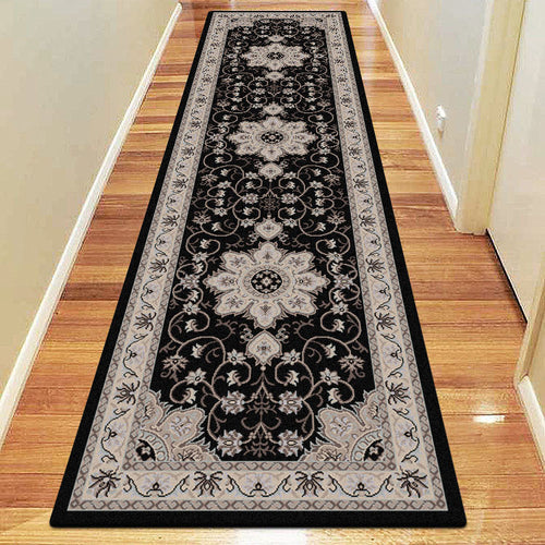 Diamond Collection 6267 Black Hallway Runner