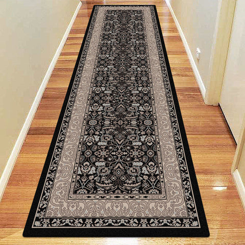 Diamond Collection 6881 Black Hallway Runner