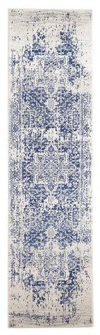 Eclipse 253 White&Navy Hallway Runner