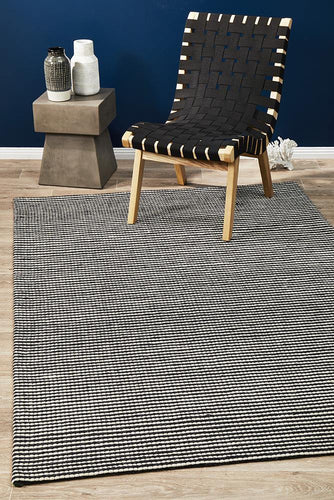 Afroza 320 Black Wool and Viscose Rug - star-rugs