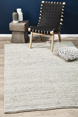 Afroza 327 White Wool and Viscose Rug