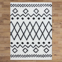 Sorento 844 cream Tribal soft Shaggy Rug