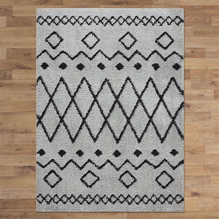 Sorento 844 Grey Tribal soft Shaggy Rug