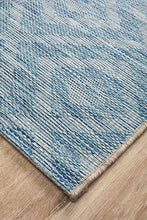 Outdoor Terrace Blue Runner Rug
