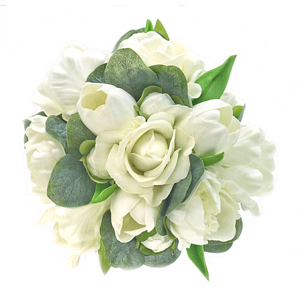 Stemple Real Touch Artificial Flower Arrangements. Featuring white tulips, white roses, eucalyptus and your color choice of vase. Great prices, free domestic shipping.