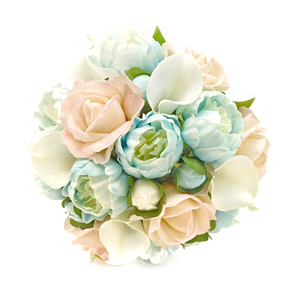 Stemple Real Touch Artificial Flower Arrangements. Featuring Light Blue Peonies, Blush Roses, White Calla Lilies and your color choice of vase. Great prices, free domestic shipping.