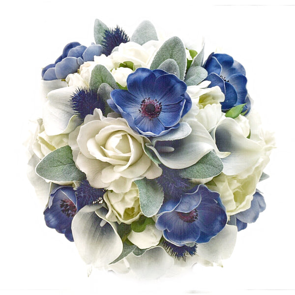 Stemple Real Touch Artificial Flower Arrangements. Featuring Navy Anemones,Navy Picasso Calla Lilies,White Peonies,White Roses,Lambs Leaf,Navy Thistle and your color choice of vase. Great prices, free domestic shipping.
