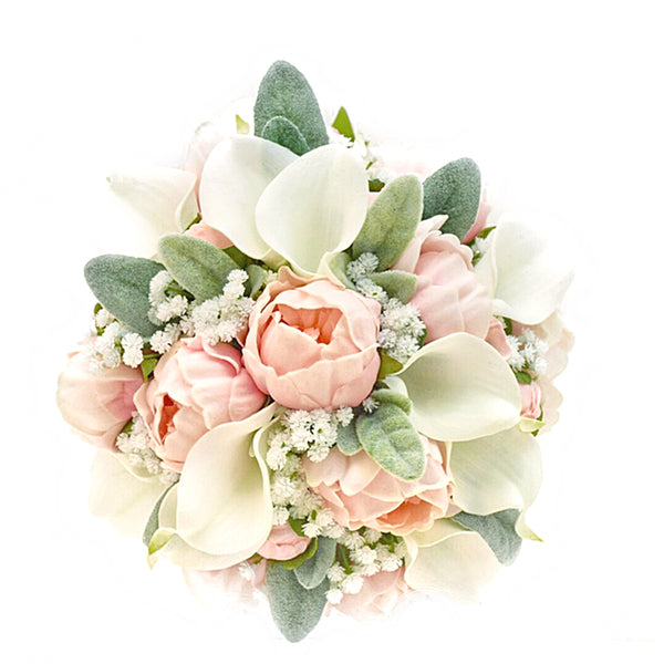 Stemple Real Touch Artificial Flower Arrangements. Featuring White Calla Lilies,Light Pink Peonies,Babys Breath,Lambs Leaf and your color choice of vase. Great prices, free domestic shipping.