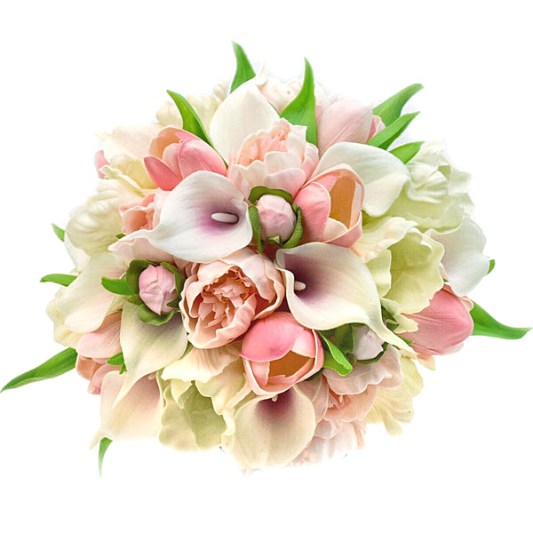 Stemple Real Touch Artificial Flower Arrangements. Featuring Light Pink Picasso Calla Lilies,Blush Pink Peonies,Tulips and your color choice of vase. Great prices, free domestic shipping.