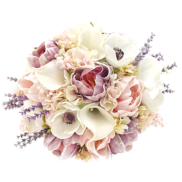Stemple Real Touch Artificial Flower Arrangements. Featuring Anemones,White Calla Lilies,Light Pink and Lavender Peonies,Light Pink Hydrangea,Pink Lilac,Lavender and your color choice of vase. Great prices, free domestic shipping.