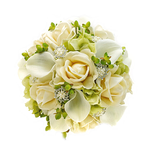 Stemple Real Touch Artificial Flower Arrangements. Featuring white calla lilies, ivory roses, green hydrangea, green hypericum, rhinestones and your color choice of vase. Great prices, free domestic shipping.