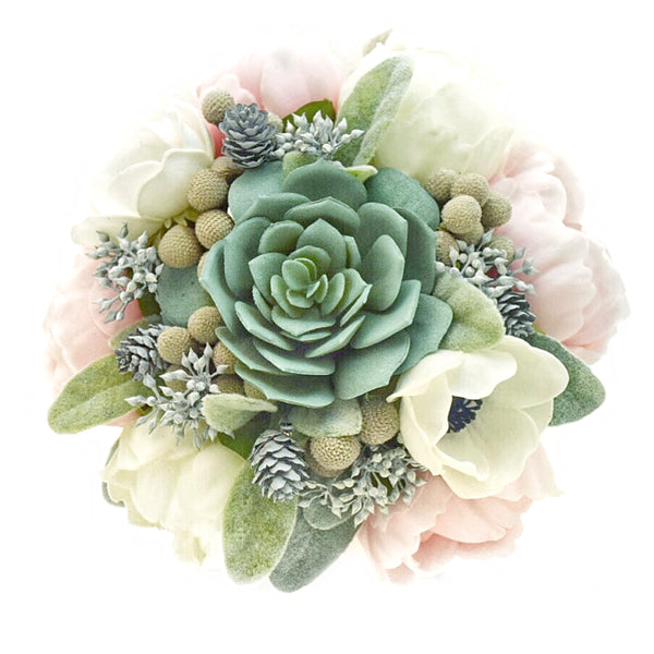 Stemple Real Touch Artificial Flower Arrangements. Featuring Anemones,White and Light Pink Peonies,Succulents,Dried Brunia,Tinted Natural Pine Cones, Lambs Ear and your color choice of vase. Great prices, free domestic shipping.