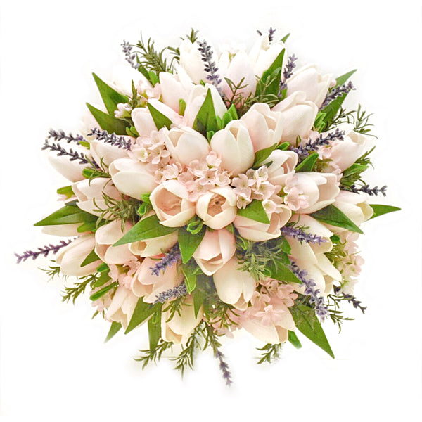 temple Real Touch Artificial Flower Wedding Bouquets. Featuring  Real Touch Blush Tulips, Lavender, Rosemary, Italian Ruscus and your color choice of satin ribbon. Great prices, free domestic shipping.