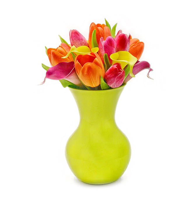 Stemple Real Touch Artificial Flower Arrangements. Featuring pink and orange tulips, yellow and purple calla lilies and your color choice of vase. Great prices, free domestic shipping.
