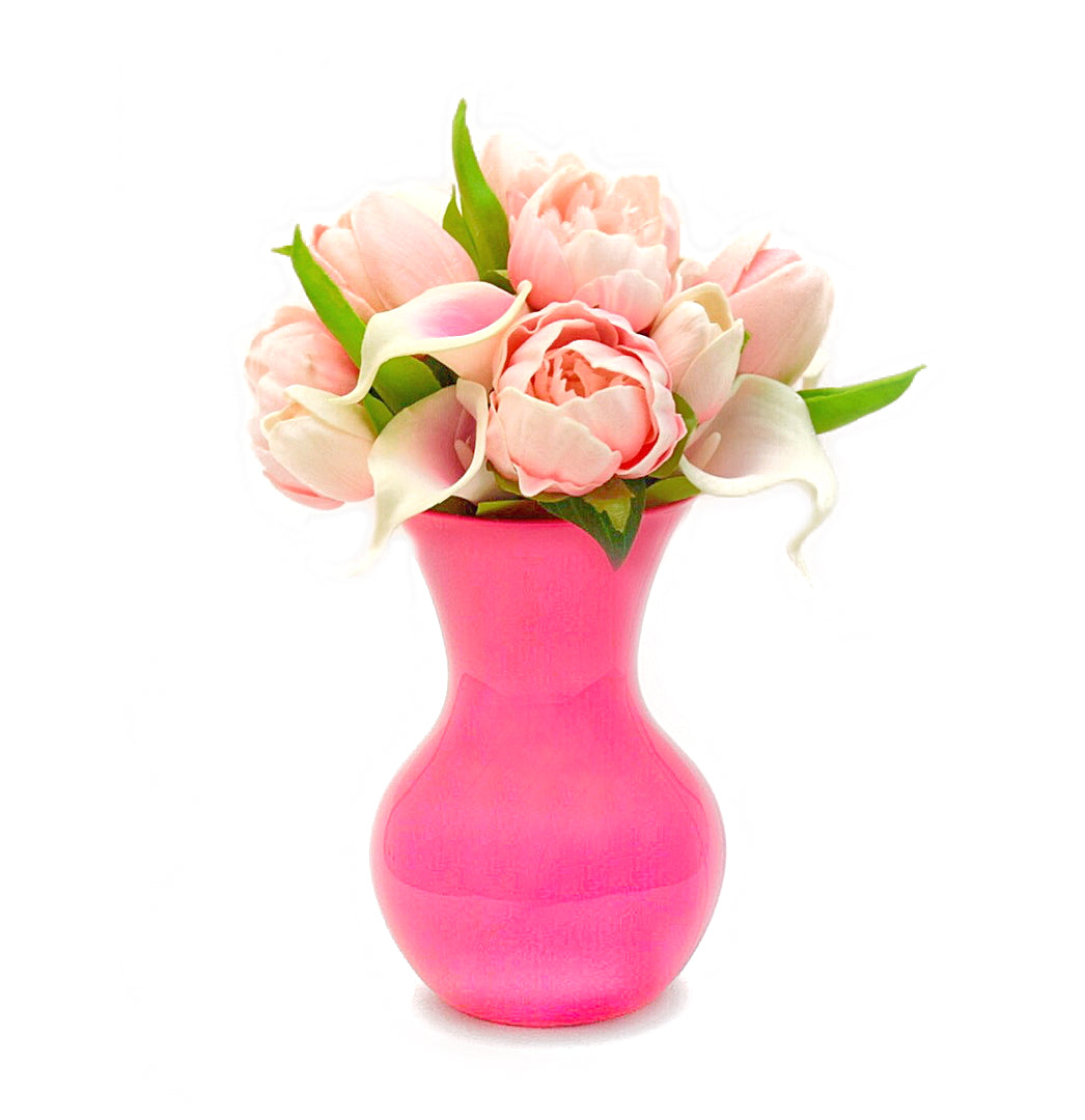 Chloe stemple inc stemple real touch artificial flower arrangements featuring light pink tulips pink picasso calla lilies mightylinksfo