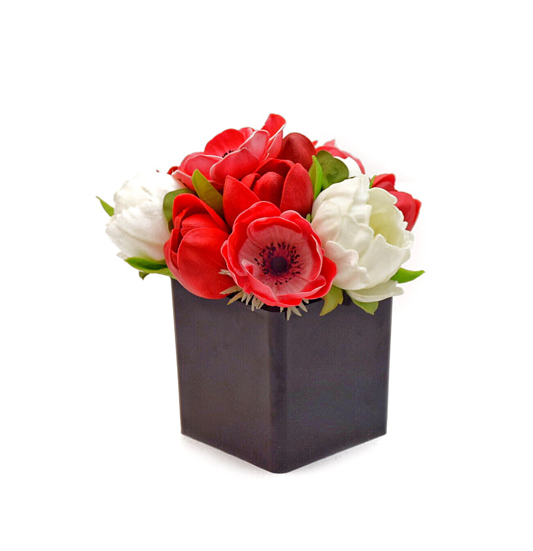 Stemple Real Touch Artificial Flower Arrangements. Featuring red tulips, red anemones, white peonies and your color choice of vase. Great prices, free domestic shipping.