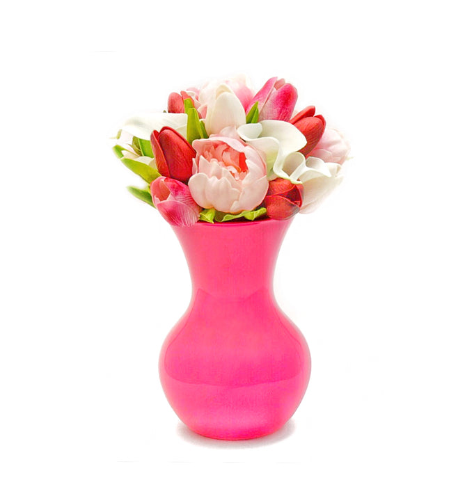 Stemple Real Touch Artificial Flower Arrangements. Featuring pink and red tulips, white calla lilies, pink peonies and your color choice of vase. Great prices, free domestic shipping.