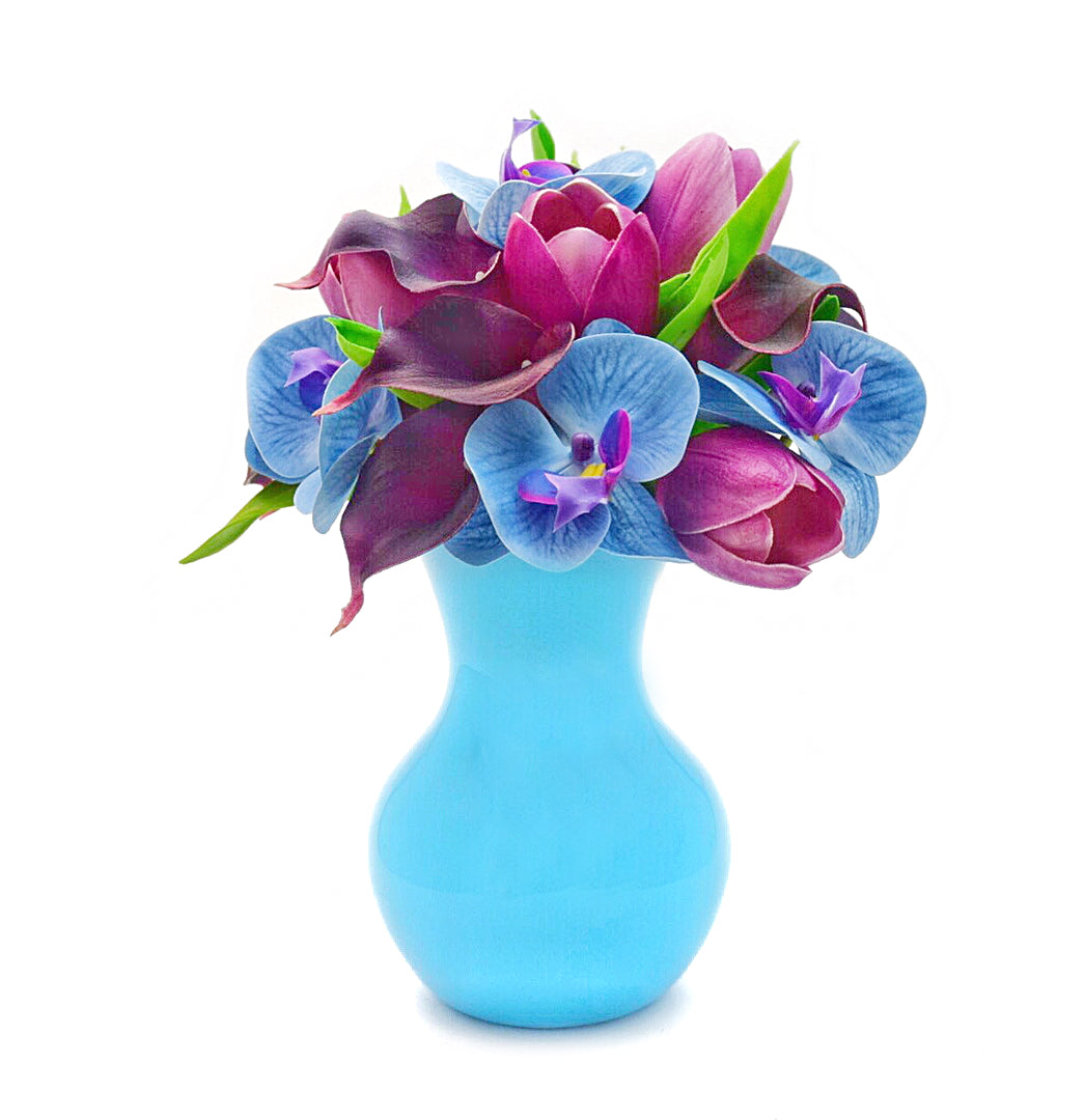 Stemple Real Touch Artificial Flower Arrangements. Featuring purple tulips, plum calla lilies, blue orchids and your color choice of vase. Great prices, free domestic shipping.