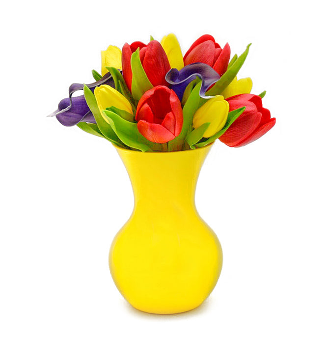 Stemple Real Touch Artificial Flower Arrangements. Featuring red and yellow tulips, royal purple calla lilies and your color choice of vase. Great prices, free domestic shipping.