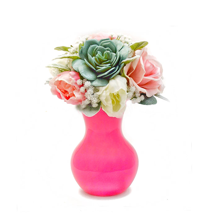 Stemple Amelia Real Touch Artificial Flower Mixed Arrangement. Featuring pink and white peonies, pink and white roses, succulents, baby's breath, lamb's leaf and your color choice of vase. Great prices, free domestic shipping.