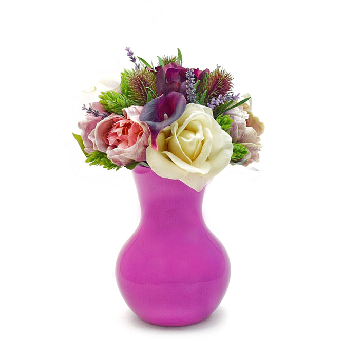 Stemple Amelia Real Touch Artificial Flower Mixed Arrangement. Featuring lavender peonies, ivory and plum roses, Picasso and plum calla lilies, thistle, hops, lavender and your color choice of vase. Great prices, free domestic shipping.