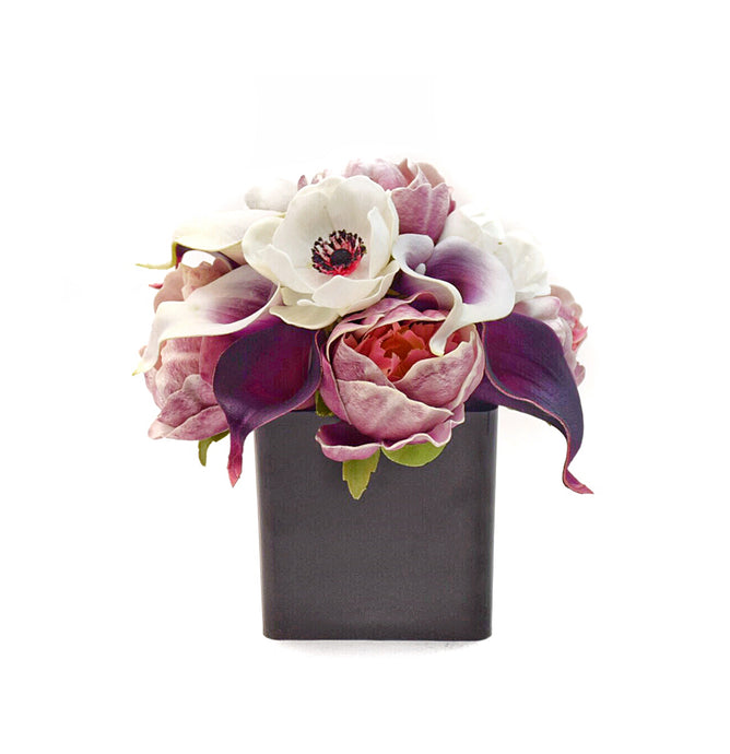 Stemple Real Touch Artificial Flower Arrangements. Featuring plum and picasso calla lilies, lavender peonies, white anemones and your color choice of vase. Great prices, free domestic shipping.