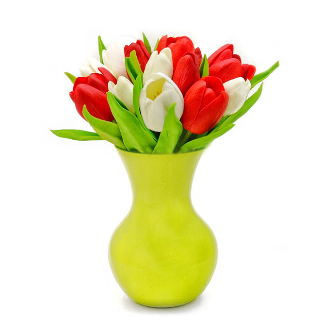 Stemple Real Touch Artificial Flower Arrangements. Featuring red and white tulips and your color choice of vase. Great prices, free domestic shipping.
