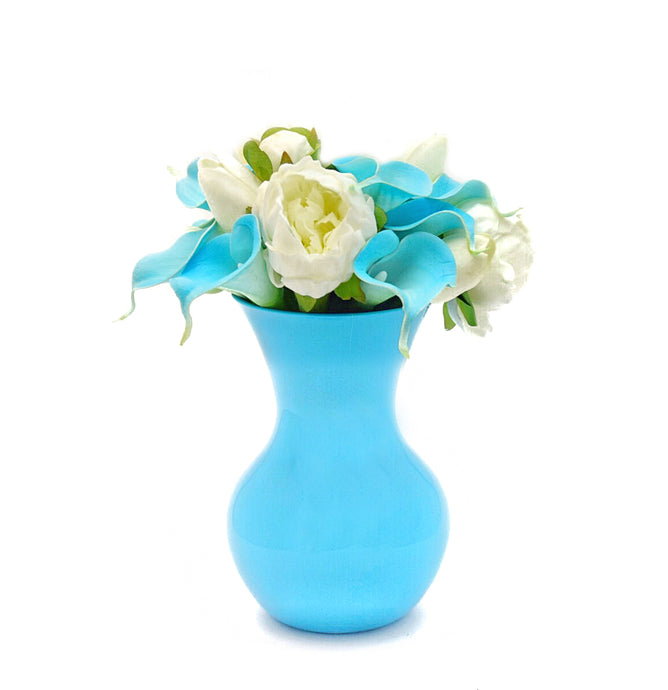 Stemple Real Touch Artificial Flower Arrangements. Featuring white tulips, aqua calla lilies, white peonies and your color choice of vase. Great prices, free domestic shipping.