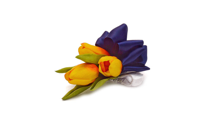 temple Real Touch Artificial Flower Wedding and Prom Corsages. Featuring  Real Touch Calla Lilies in White,Light Pink,Light Blue,Purple,Plum,Red,Yellow,Sunset and satin ribbon. Great prices, free domestic shipping.
