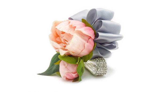 temple Real Touch Artificial Flower Wedding and Prom Corsages. Featuring  Real Touch Peonies in Lavender, Raspberry, White and Pink and your color choice of satin ribbon. Great prices, free domestic shipping.