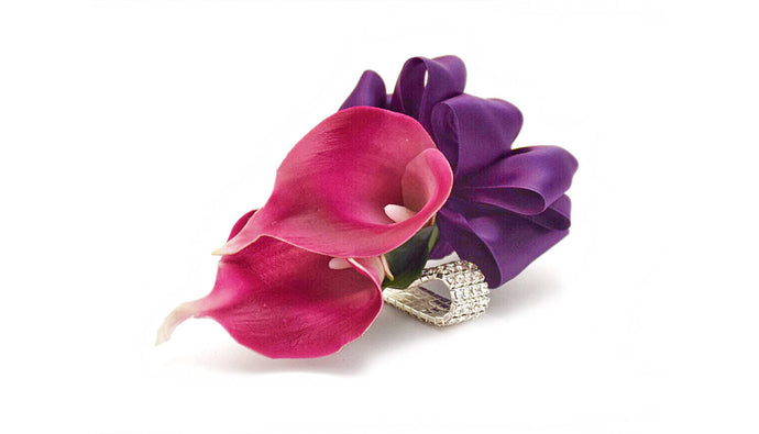 temple Real Touch Artificial Flower Wedding and Prom Corsages. Featuring  Real Touch Calla Lilies in White, Plum Picasso, Royal Blue Picasso, Navy PIcasso, Navy,Plum,Royal Purple,Aqua,Pink,Yellow and your color choice of satin ribbon. Great prices, free domestic shipping.