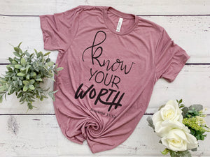 Know Your Worth Short Sleeve Antique Rose Tee #WEARYOURFAITH