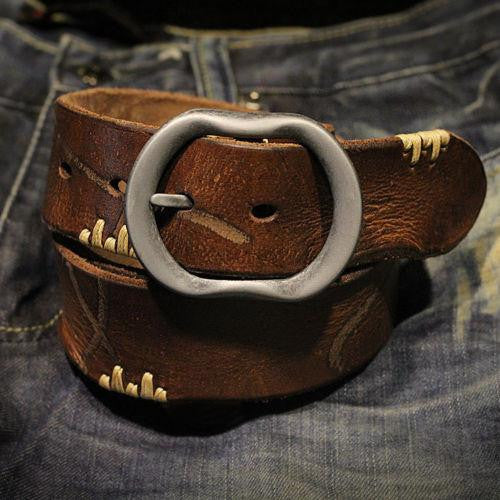 Junetree vintage Men Leather Belt Casual Smooth Pin Buckle Waist Strap